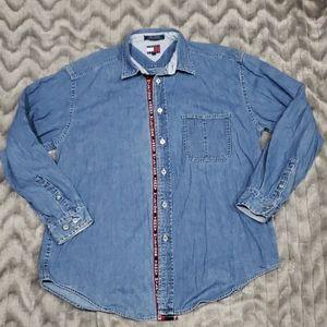 Tommy Hilfiger Spell Out Denim Long Sleeve Shirt L